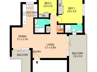 View profile: Walk to Station- Two Bedrooms, Two bathrooms & Two Balconies!